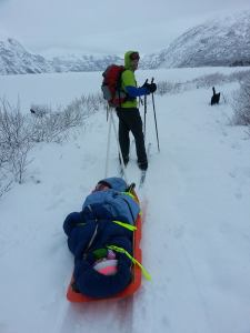 Cross-country skiing across Portage Lake.